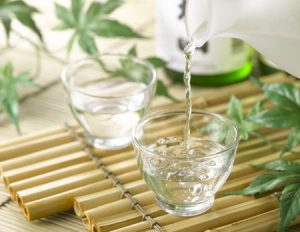 4995339 - sake on bamboo tray with bottle