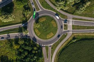 47250020 - aerial view of roundabout in wroclaw city